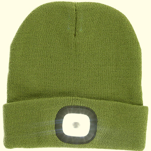 Rechargeable LED beanie hat with a black patch