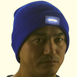 Rectangle-shaped patch on cuff beanie with LED light