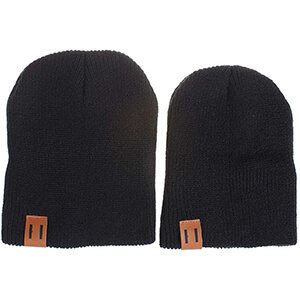 Rib-knit matching family beanies