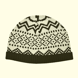 White-black pattern merino wool watch cap