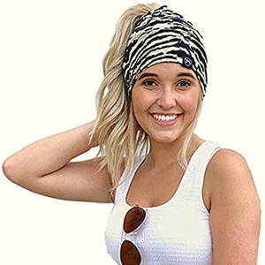 Zebra print beanie with ponytail hole