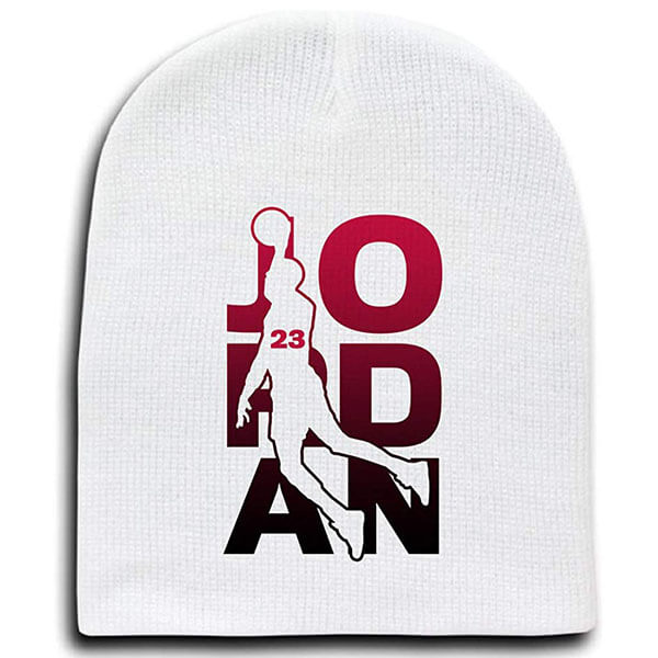 White-pink Jordan beanie with name script
