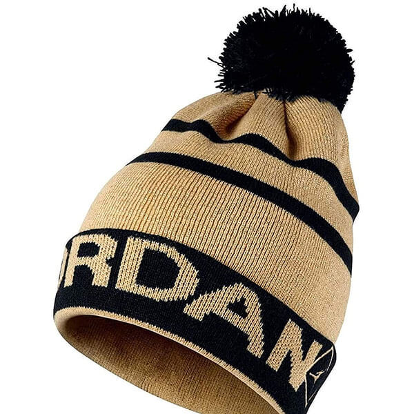 Gold-black Jordan beanie men with pom pom