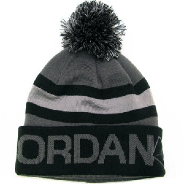 Black-gray Jordan beanie men with pom pom