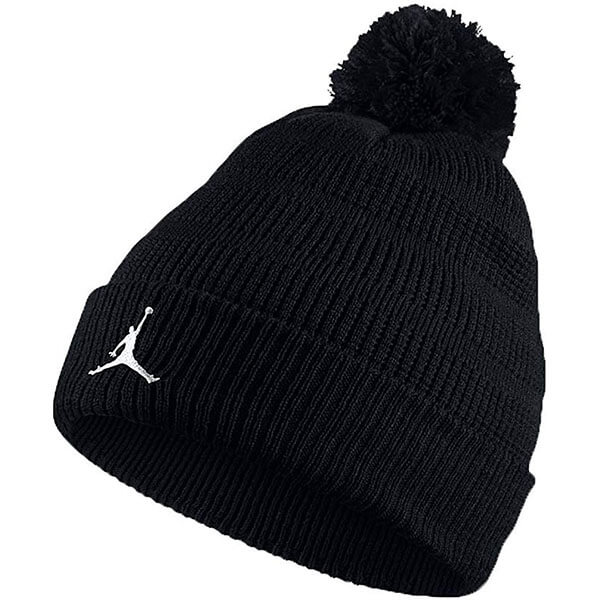 Black Jordan beanie men with pom pom