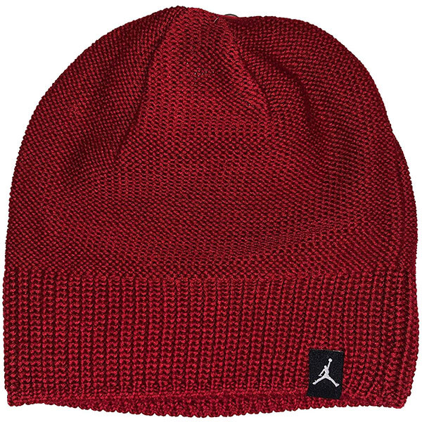 Dark red knit Jordan beanie hat