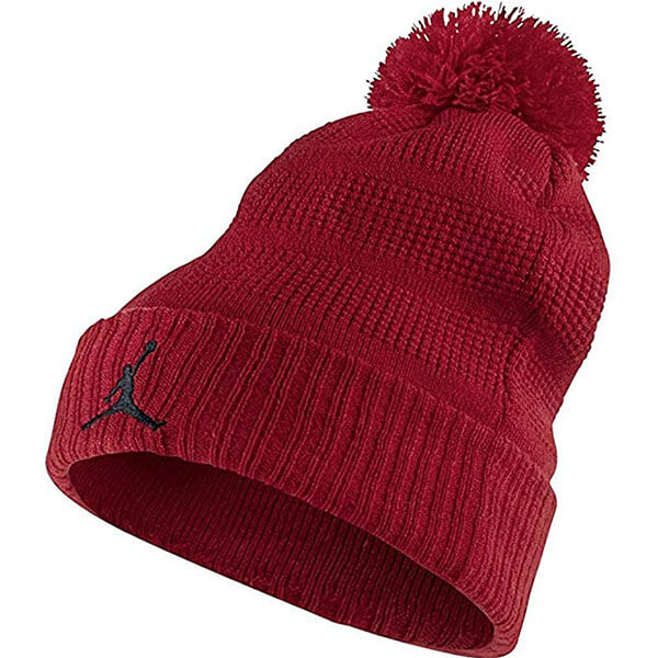 Red air Jordan beanie with pom pom
