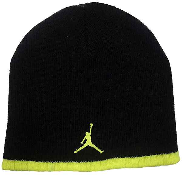 Black Jordan beanie with neon yellow stripe