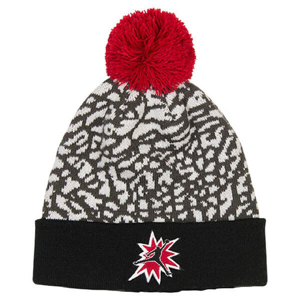 White-gray elephant Jordan beanie hat with red pom pom
