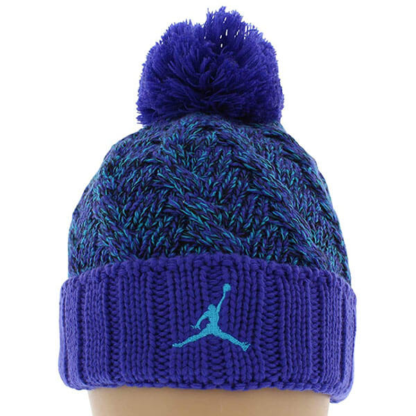Bright Concord-Black-Blue Jordan beanie hat with pom pom