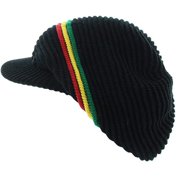 Rasta Ribbed and Slouchy Beanie Cap