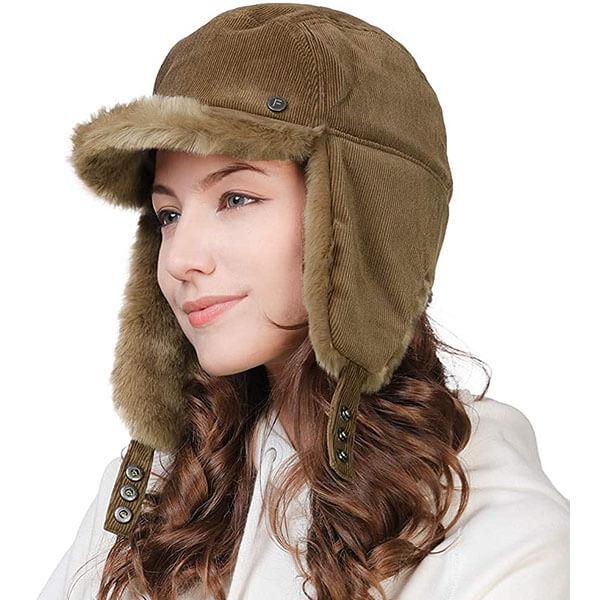 Faux Fur Earflap Corduroy Women Winter Hat