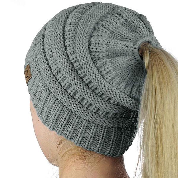 High Bun Ponytail Knit Beanie Winter Hat