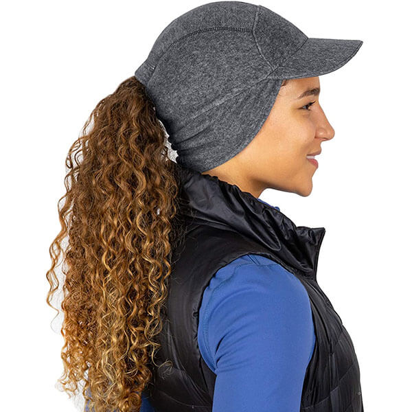 Fleece Ponytail Hat with Drop Down Ear Warmer