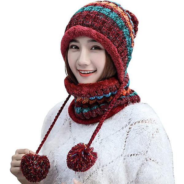 Fleece-lined Women's Earflap Beanie with Pompom