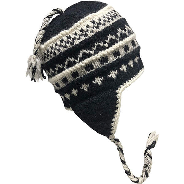 Heavy Wool Fleece-lined Winter Hat with Earflaps