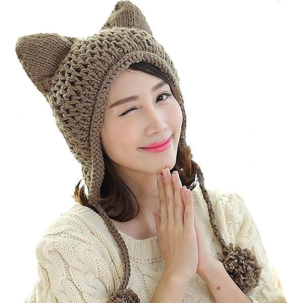 Handmade Cat Ear Crochet Braided