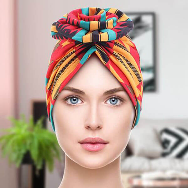 African Pattern Headwrap Beanie With Pre-Tied Bonnet