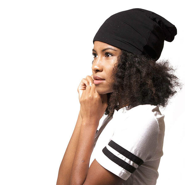 Satin Lined Black Jersey Beanie