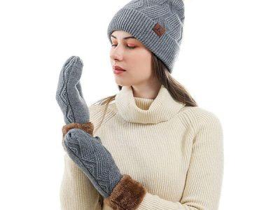 Warm Knit Pom Beanie With Mittens Set