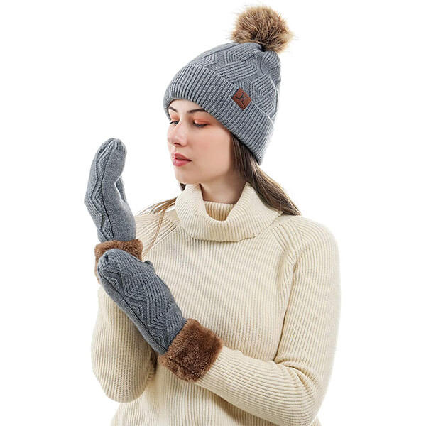 Warm Knit Pom Beanie With Mittens Set