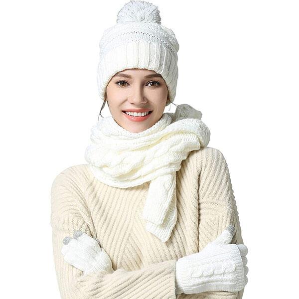 Women's Warm Winter Hat Scarf Glove Set