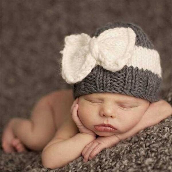 Woolen Beanie Hat with Bow Cap
