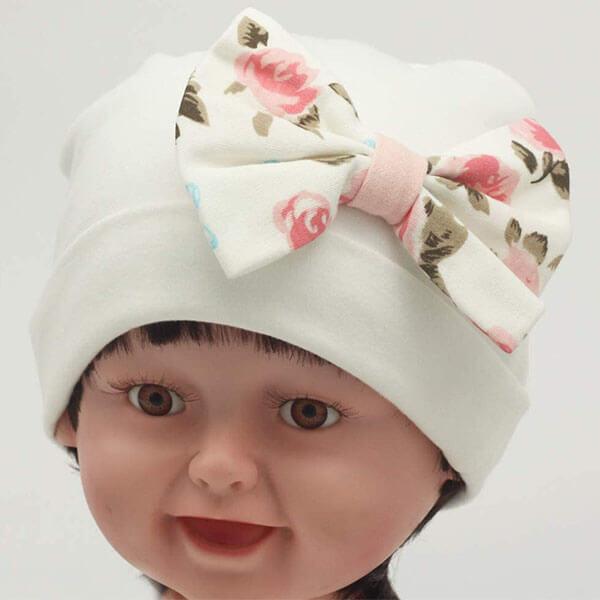 Flower Bow Beanie Hat