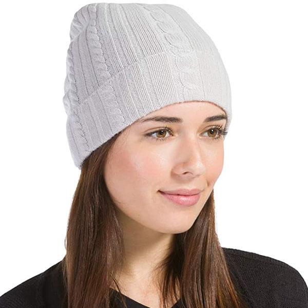 Knit-Cuffed Cashmere Wool Women's Beanie