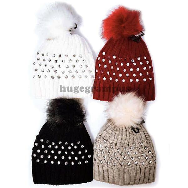 Rhinestone Gem Studded Beanie Hat for Women