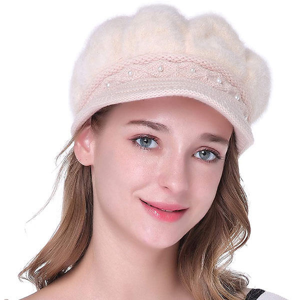 Slouchy Cotton Beanies With A Pearl Line