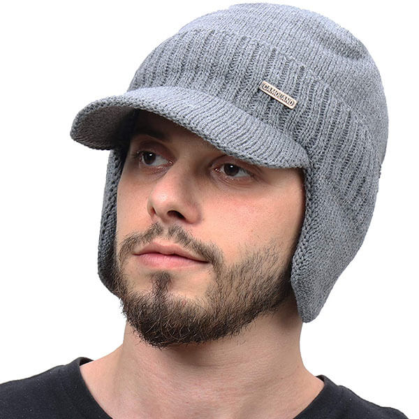 Winter Beanie With Earflaps And Scarf Set For Men