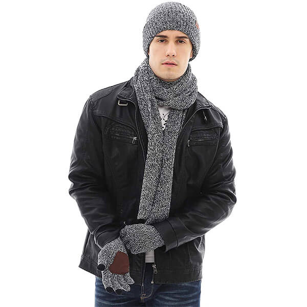 Winter Knit Hat Beanie Long Neck Warmer Scarf Touchscreen Gloves Set Fleece Lined