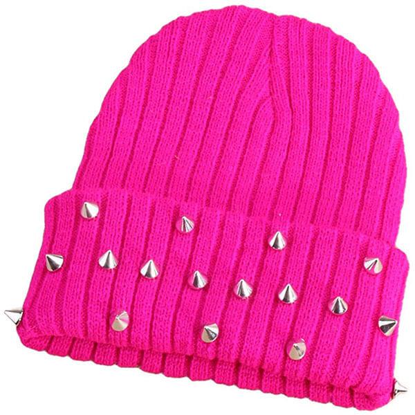 Women's Punk Rock Studded Beanie Hat