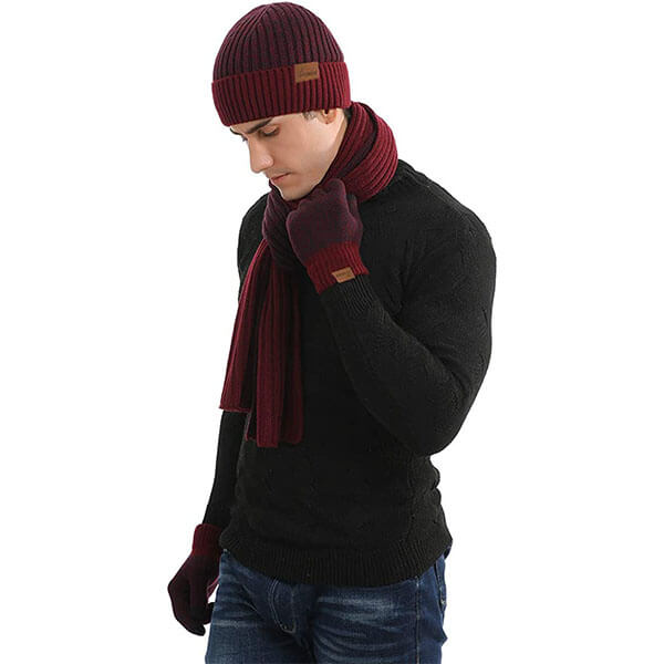 Men's Winter Hat Neck Warmer Scarf and Touchscreen Gloves 3 PCS Set