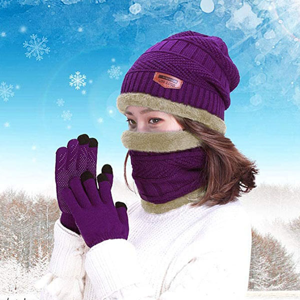 Snow Knit Skull Cap With Gloves And Scarf