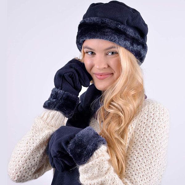 Solid Fleece Three-Piece Glove Hat Scarf Set For Women