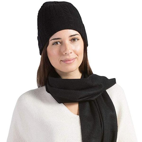 Women's Woolen Beanie-Glove-Scarf Triple Set