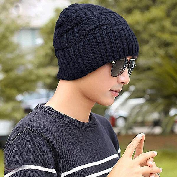 Wool Knit Slouchy Beanie Hat