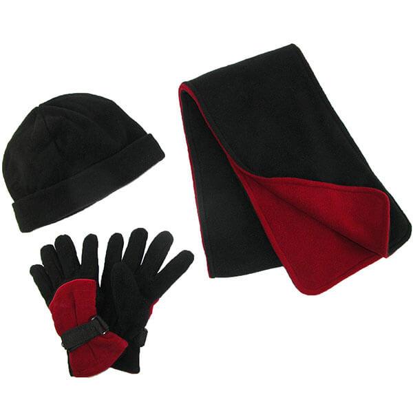 Men's Winter Fleece Hat Gloves and Scarf Set