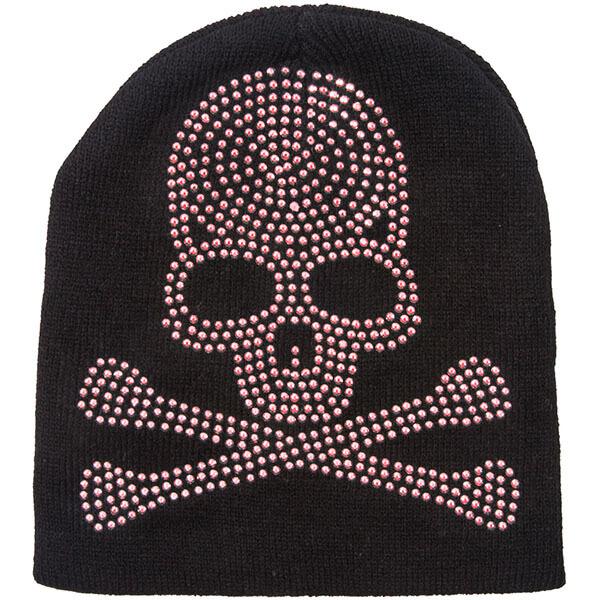 Rhinestone Skull Beanie Hat