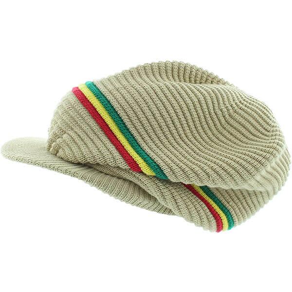 Three colored Stripe Rasta Style Cap with Visor