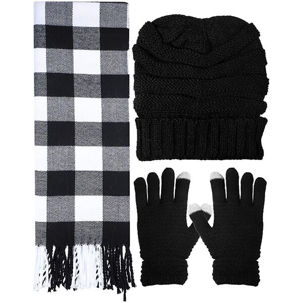 Warm Soft Knitted Hat Gloves And Scarf Set