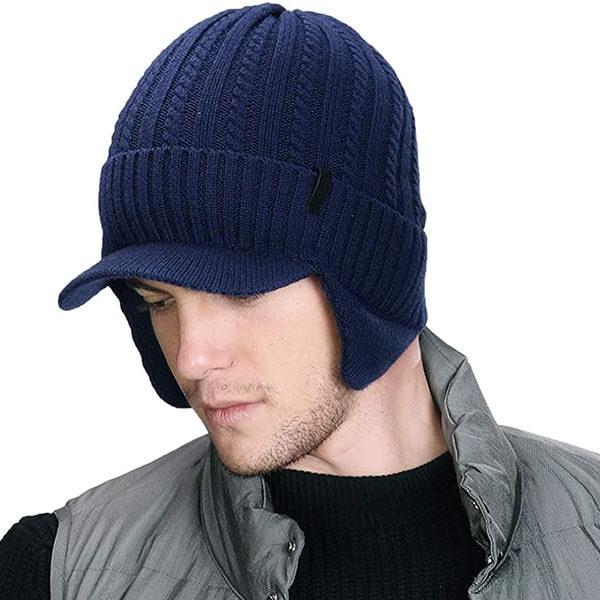 Wool Knit Visor Beanie Hat