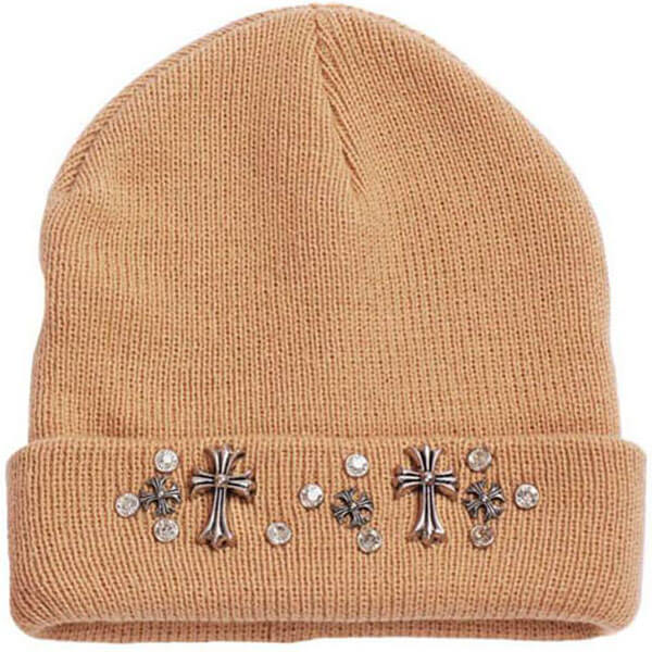 Cuffed Beanie with Crosses and Studs for Women