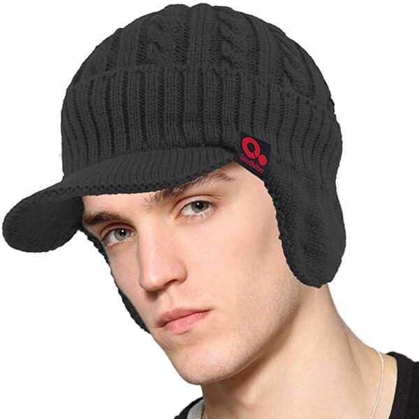 Knit Beanie Hat with Visor Brim