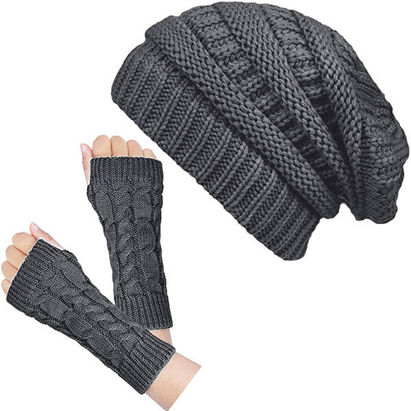 Soft Stretch Beanie With Fingerless Gloves