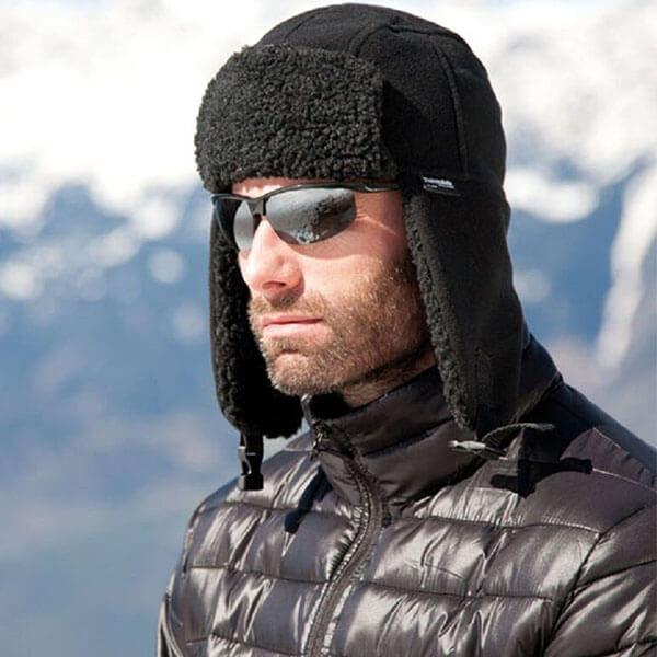 Warm Faux Wool Fleece Lined Winter Cap For Men