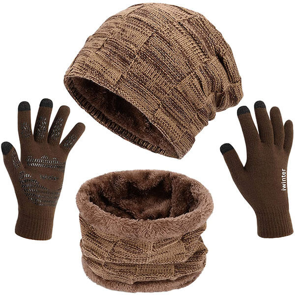Warm Knitted Men's Winter Hat Scarf and Gloves Set