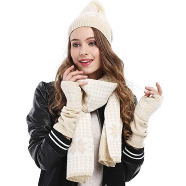 Women's Warm Scarf Glove Ski Beanie Set